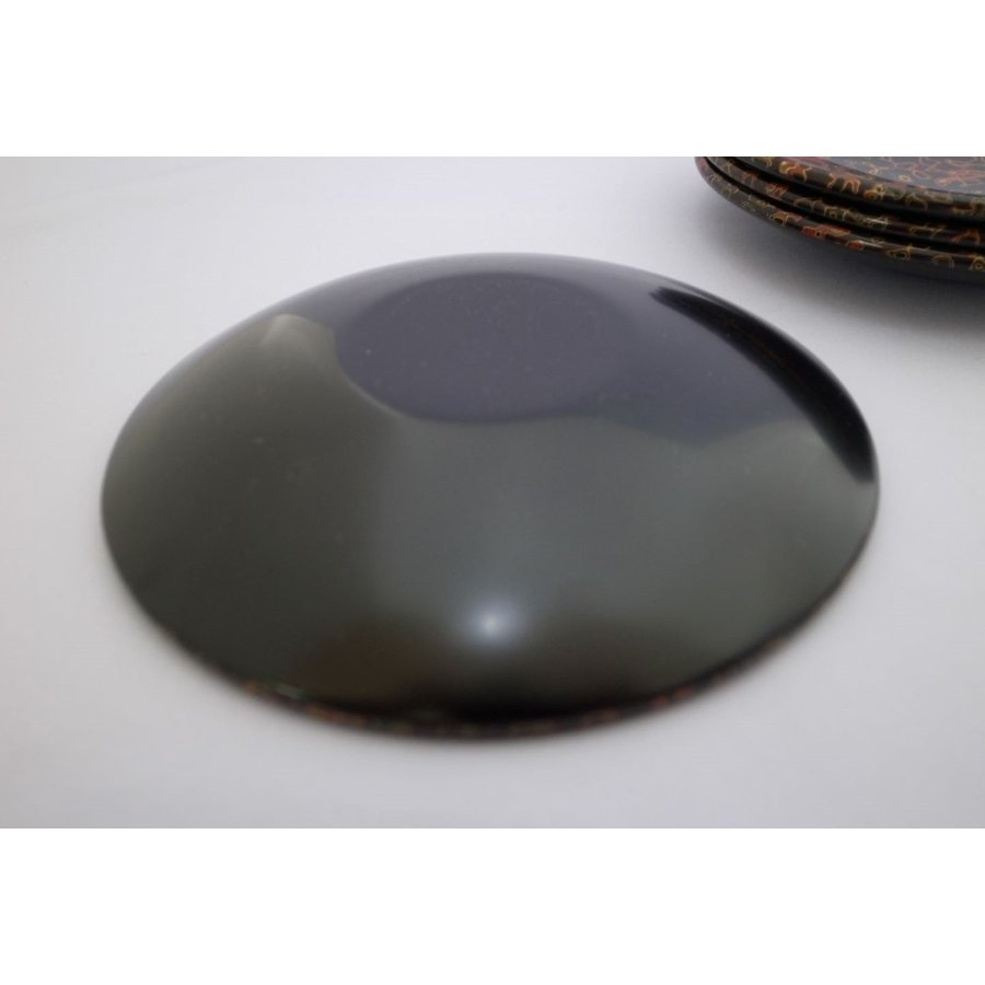 丸銘々皿 5枚入 木製 4.5寸 唐塗呂上|tsugaru-ishioka|03