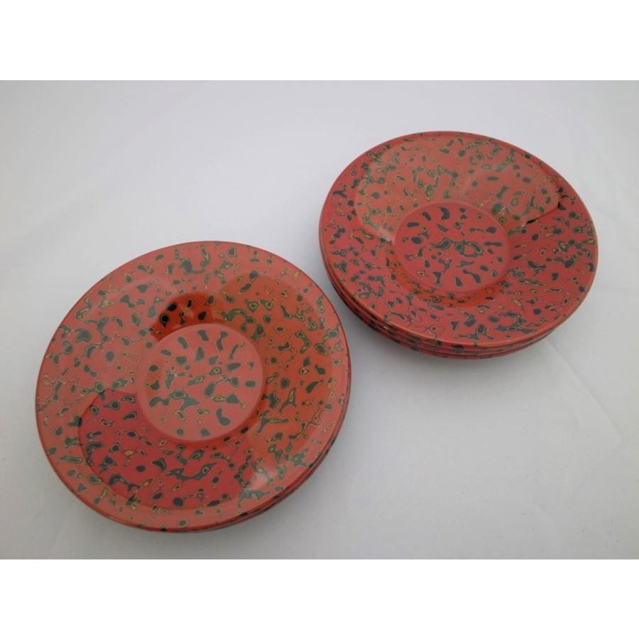 茶托 5枚入 木製 唐塗赤上 tsugaru-ishioka