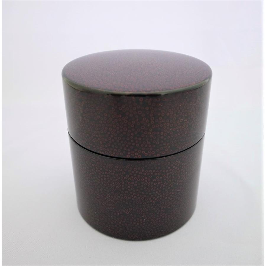 茶筒 木粉 ななこ塗黒上|tsugaru-ishioka