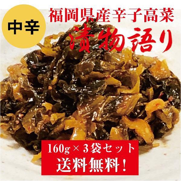 送料無料!イヌイの福岡県産辛子高菜「漬物語り」中辛3袋セット 160g×3袋セット|tsukemonogatari