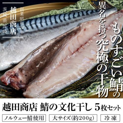 さば 鯖 サバ 越田商店 鯖の文化干し ノルウェー鯖使用 大サイズ 約200g 5枚セット 干物 文化干し 冷凍同梱可能 送料無料