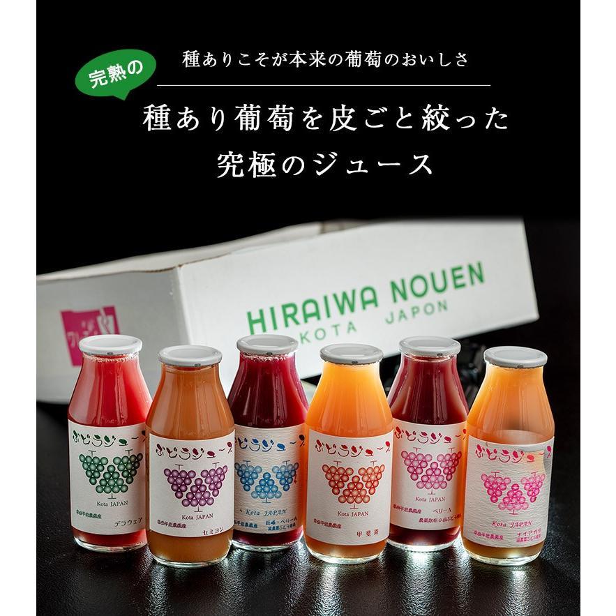 平岩農園 「種ありぶどうだけで作る6種のぶどうジュース」 180ml瓶×6本 ※常温 送料無料 tsukijiichiba 02