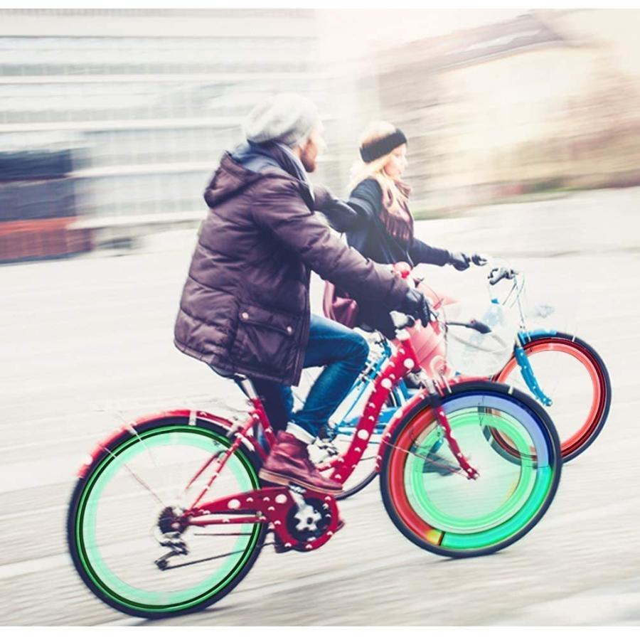 LEDGLE 自転車ホイールライト 自転車用スポークLEDライト 夜間セーフティライト 3発光モード 事故防止 夜道安全 反射板 6個セット tsukinowado 08