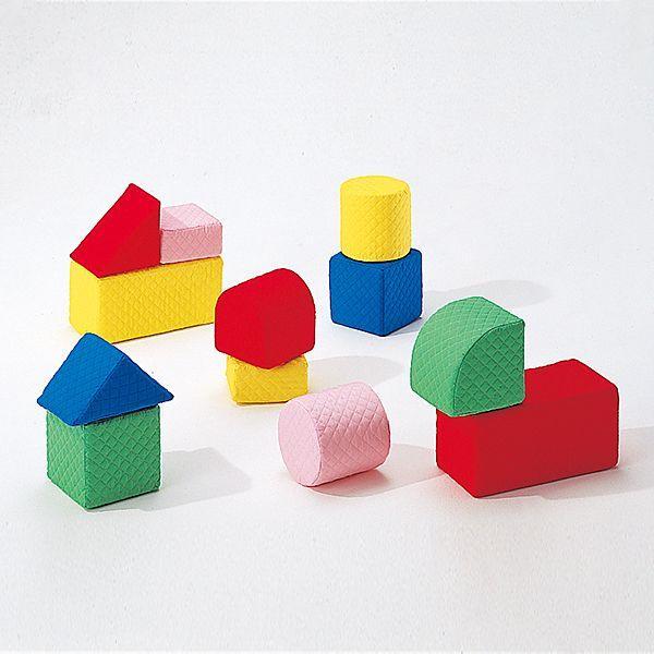 幼児のブロック遊びに最適な大型つみきブロック 汚れても洗えるキルディブロック 15cm基尺 Bセット 12個