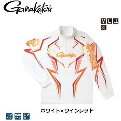 がまかつ 2WAYプリントジップシャツ(長袖) GM-3540 ホワイト×ワインレッド Mサイズ / ウエア フィッシング (送料無料) (年末感謝セール対象商品)