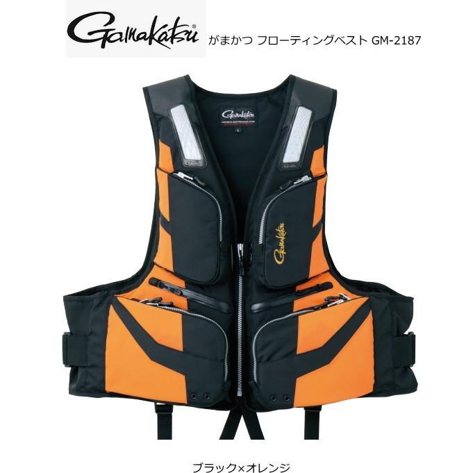 がまかつ フローティングベスト GM-2187 ブラック×オレンジ 3Lサイズ (お取り寄せ商品)