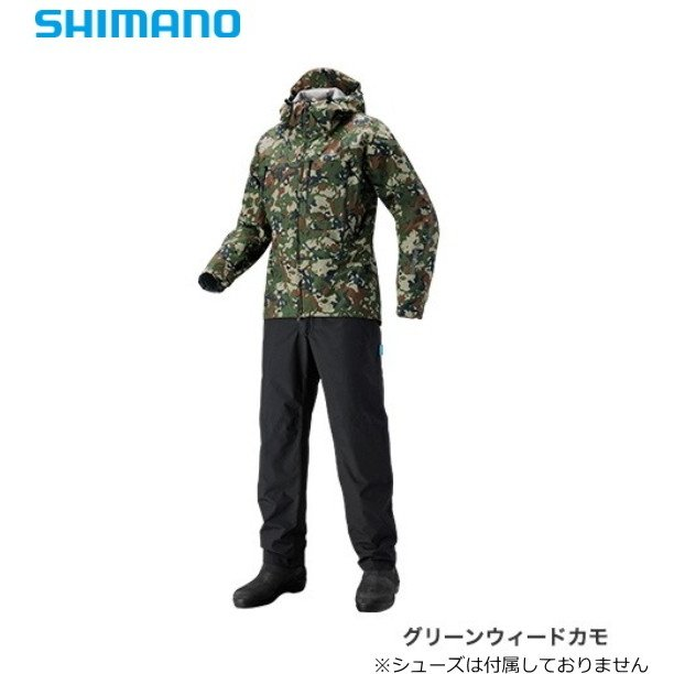 シマノ DSエクスプローラースーツ RA-024S グリーンウィードカモ 4XL(5L)サイズ / レインウエア (S01) (O01)