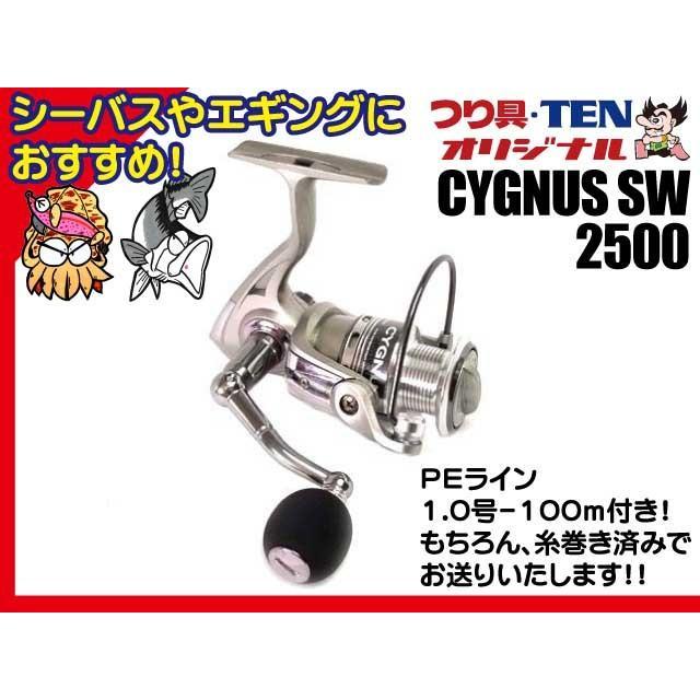 つり具・TENオリジナル シグナスSW 2500 PEライン1.0号-100m付き(シーバス・エギングおすすめ スピニングリール)|tsurigu-ten