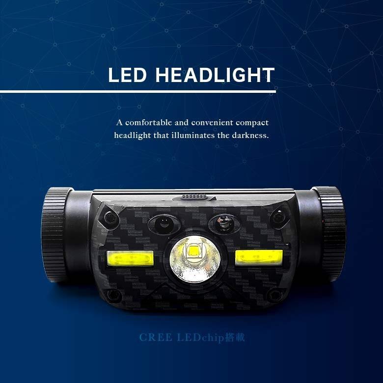 LEDヘッドライト USB充電・電池 2つの給電方法 IRセンサー点灯 釣り アウトドア 登山 防災|tsuriking