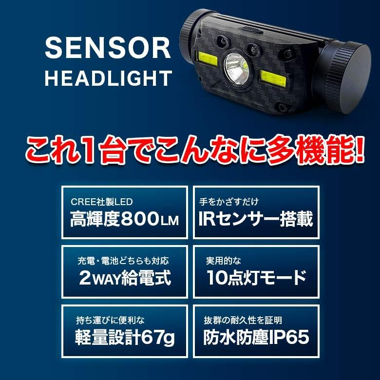 LEDヘッドライト USB充電・電池 2つの給電方法 IRセンサー点灯 釣り アウトドア 登山 防災|tsuriking|02