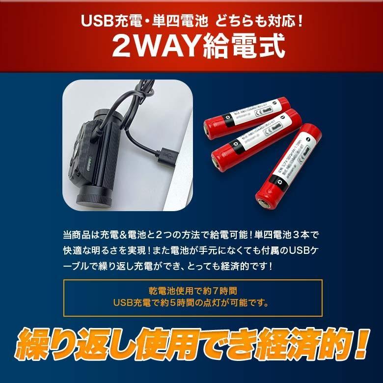 LEDヘッドライト USB充電・電池 2つの給電方法 IRセンサー点灯 釣り アウトドア 登山 防災|tsuriking|06