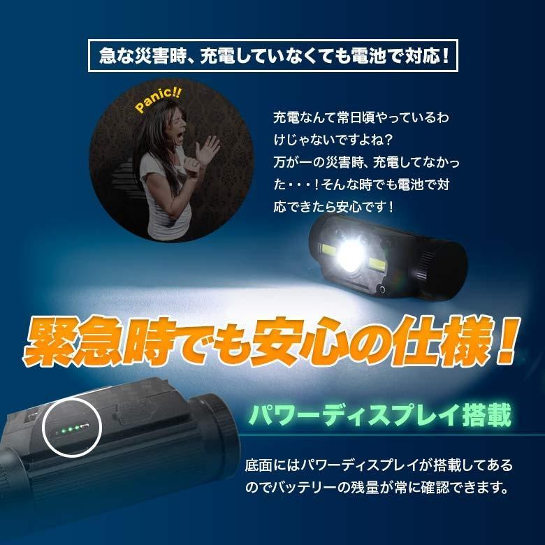 LEDヘッドライト USB充電・電池 2つの給電方法 IRセンサー点灯 釣り アウトドア 登山 防災|tsuriking|07