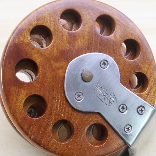 重利作 木製リール 85mm ツルヤ 木製リール 2台セット /A013M 美品 釣り ベイトリール チヌ 落とし込み 波止 ソルト フィッシング tsuriking 05
