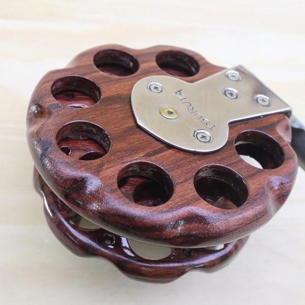 重利作 木製リール 85mm ツルヤ 木製リール 2台セット /A013M 美品 釣り ベイトリール チヌ 落とし込み 波止 ソルト フィッシング tsuriking 08