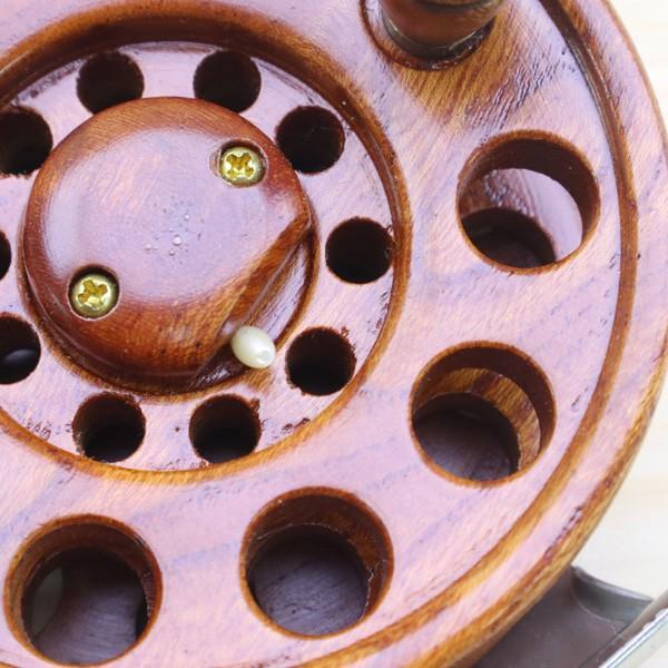 重利作 木製リール 85mm ツルヤ 木製リール 2台セット /A013M 美品 釣り ベイトリール チヌ 落とし込み 波止 ソルト フィッシング tsuriking 10