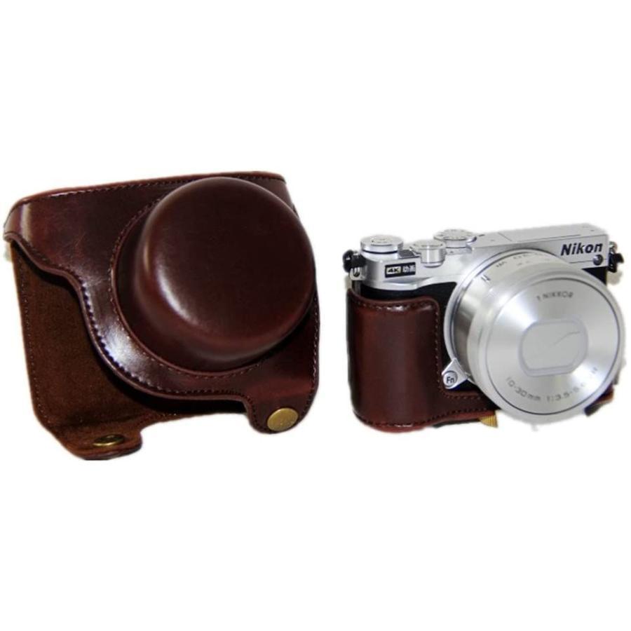 kinokoo Nikon J5 カメラケース カメラバッグ PUレザー 三脚穴付き ショルダーストラップ付き(コーヒー) tts 03