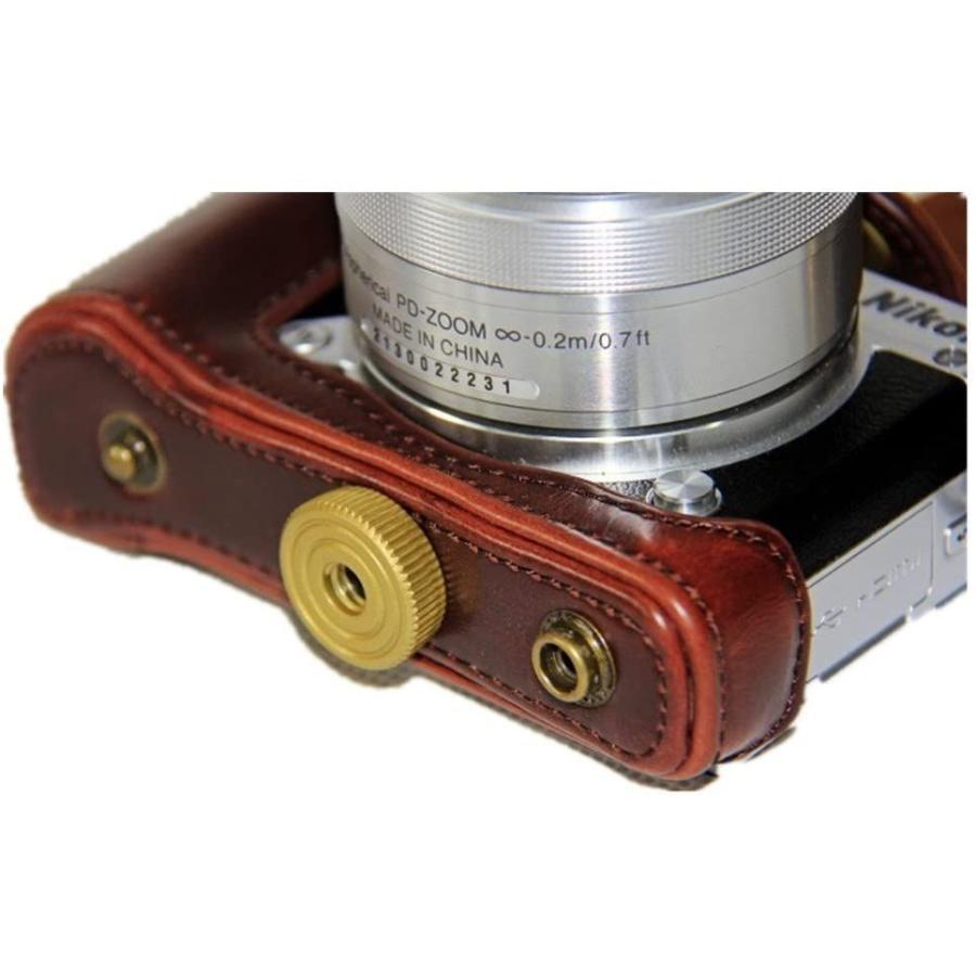 kinokoo Nikon J5 カメラケース カメラバッグ PUレザー 三脚穴付き ショルダーストラップ付き(コーヒー) tts 06