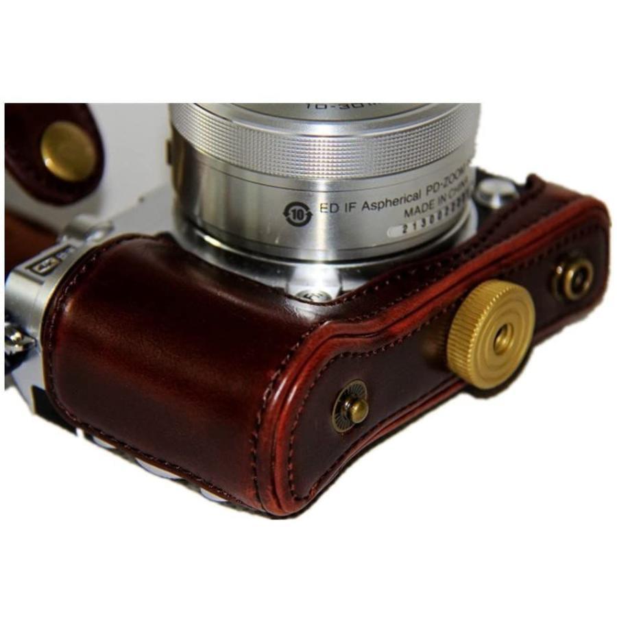 kinokoo Nikon J5 カメラケース カメラバッグ PUレザー 三脚穴付き ショルダーストラップ付き(コーヒー) tts 07
