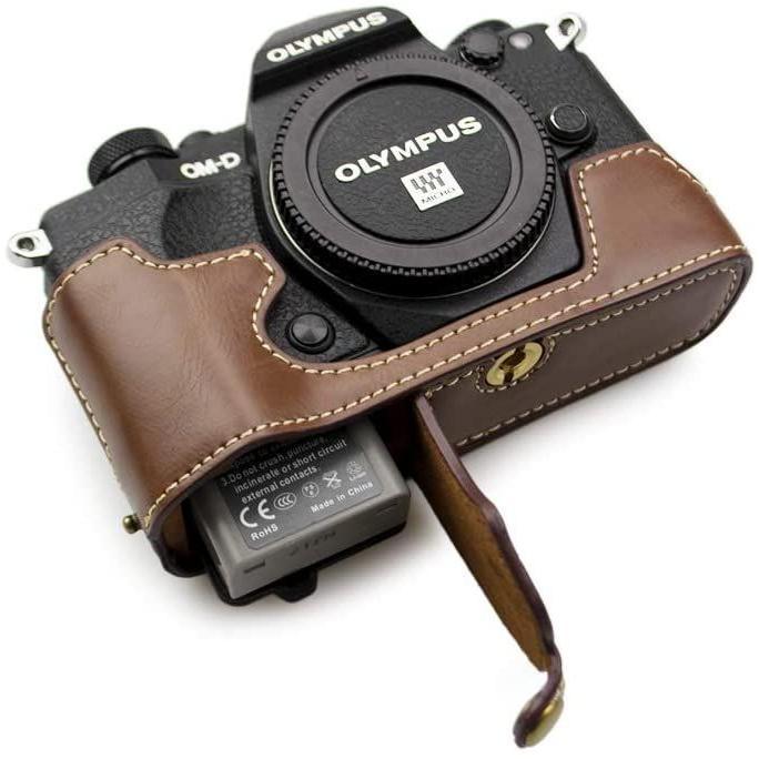 kinokoo OLYMPUS OM-D E-M5 MarkII専用 ボディケースバッテリーの交換でき 三脚ネジ穴 (コーヒー)|tts|03