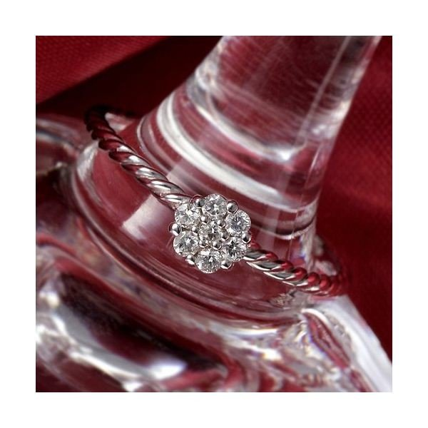 ★大人気商品★ K14WG(ホワイトゴールド) ダイヤリング 指輪 セブンスターリング 11号, メロディーデザイン ac099dd3