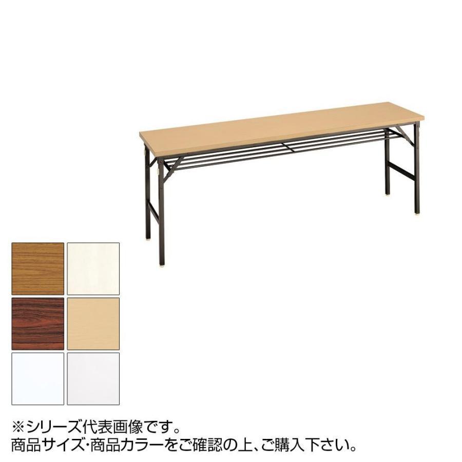 【代引き不可・同梱不可】トーカイスクリーン 折り畳み会議テーブル クランク式 共縁 棚付 YT-155