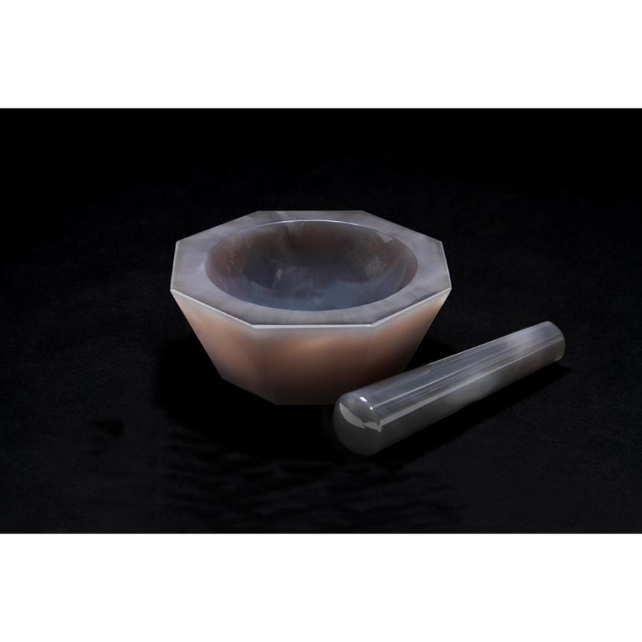 メノー乳鉢 浅型 85×105×25  乳棒付き 城戸メノウ乳鉢製作所 aso 6-546-12 医療・研究用機器
