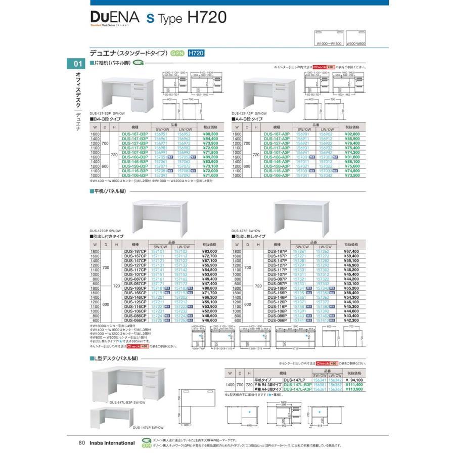【全国配送可】-イナバ オフィスデスク 平机 引出付 DUS-146CP SW/OW 品番(157201)