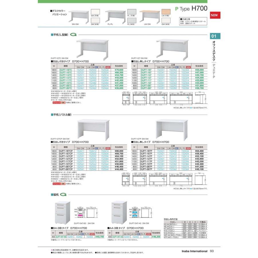 【全国配送可】-イナバ オフィスデスク 平机 DUP7-167CP LW/OW 品番(152602)