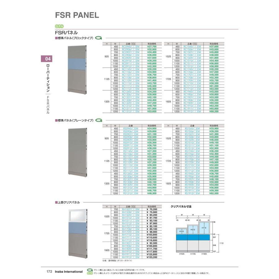 【全国配送可】-イナバ ローパーティション FSRパネル 標準パネル(プレーンタイプ) 品番(RS1106/)