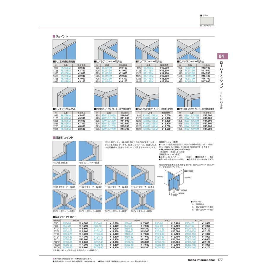【全国配送可】-イナバ ローパーティション FSRパネル 段差ジョイント 品番(RCD4-60)