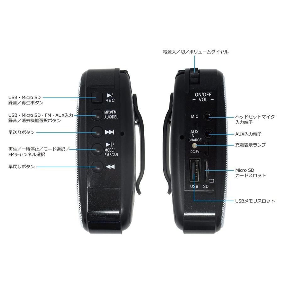 飛沫拡散防止対策にハンズフリー ポータブル拡声器 MP3フォーマットでUSBメモリ、Micro SDカードに録音可能、リチウムイオンバッテリ|turaronkon|04