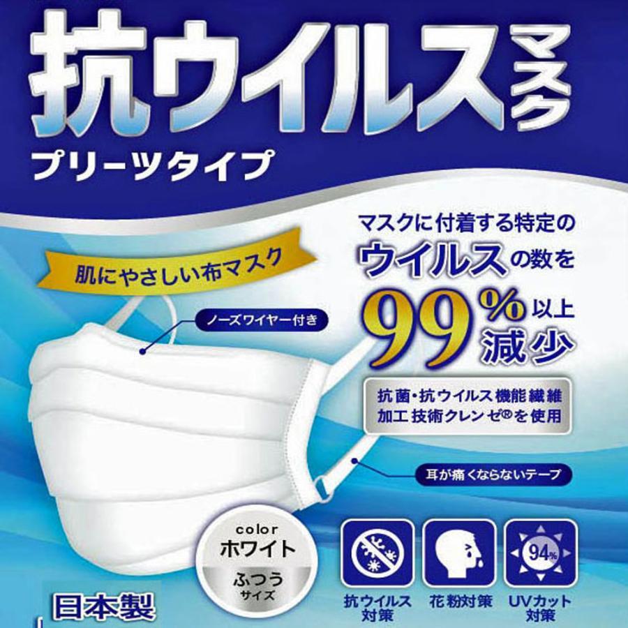 日本製・ツーヨン洗えるマスク クレンゼ・布マスク 2枚入り 抗ウイルスマスクプリーツタイプ UVカット付き  無地 耳が痛くならないフラットテープ使用 T93J tuyon