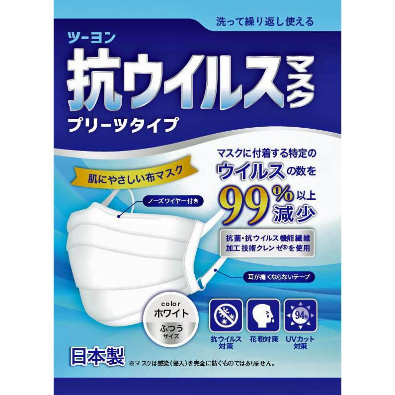 日本製・ツーヨン洗えるマスク クレンゼ・布マスク 2枚入り 抗ウイルスマスクプリーツタイプ UVカット付き  無地 耳が痛くならないフラットテープ使用 T93J tuyon 04