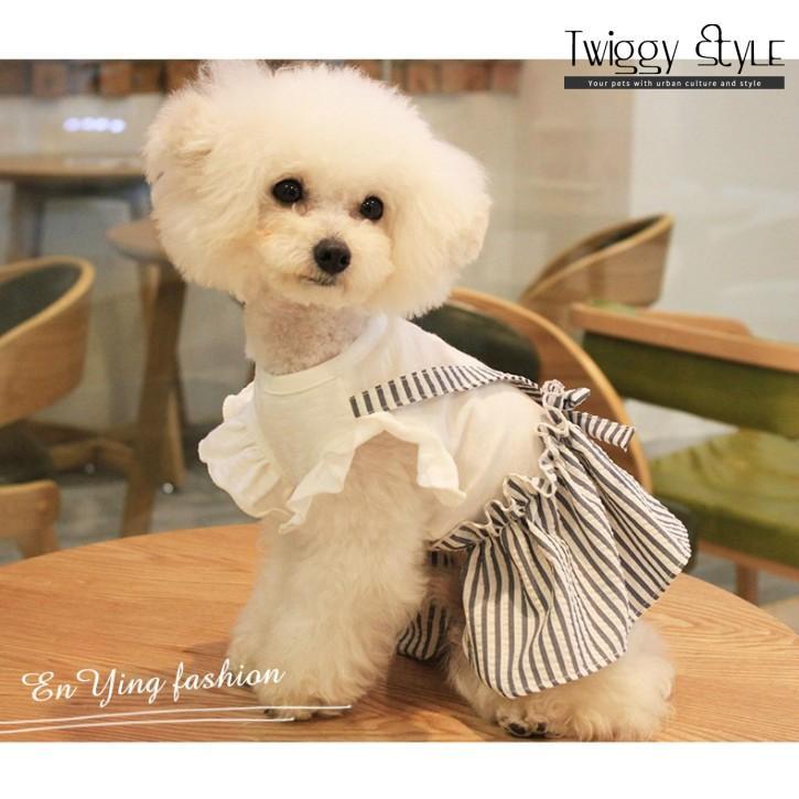 【送料無料!犬服・ドッグウェア・ワンピース・ドレス・夏・春・シンプル・プチプラ・おしゃれ・可愛い・かわいい】ふんわり袖のストライプワンピース|twiggy-style