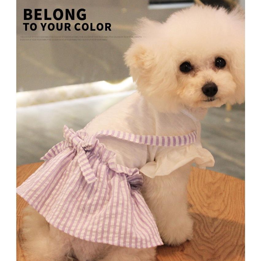 【送料無料!犬服・ドッグウェア・ワンピース・ドレス・夏・春・シンプル・プチプラ・おしゃれ・可愛い・かわいい】ふんわり袖のストライプワンピース|twiggy-style|02