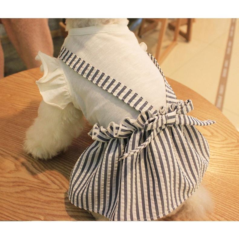 【送料無料!犬服・ドッグウェア・ワンピース・ドレス・夏・春・シンプル・プチプラ・おしゃれ・可愛い・かわいい】ふんわり袖のストライプワンピース|twiggy-style|03