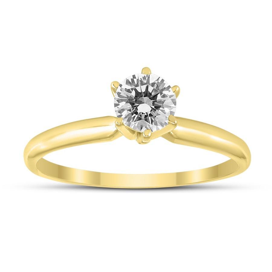 公式の店舗 1/2 14K Carat Round Diamond Ring Solitaire Ring 1/2 in 14K Yellow Gold, パンとお菓子材料のマルコ:155e3120 --- airmodconsu.dominiotemporario.com