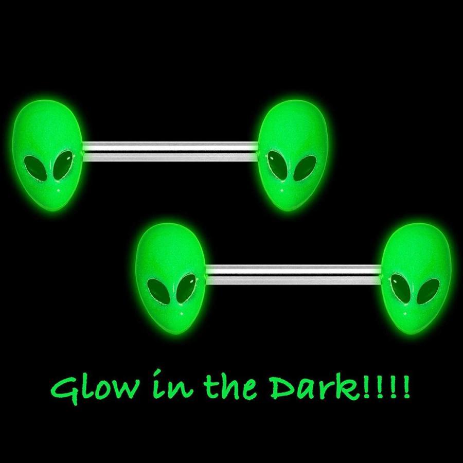 最終決算 Body Candy 14G Nipplerings Piercing Steel 2Pc Glow in The Dark Green A, トキワマチ a494bc1b