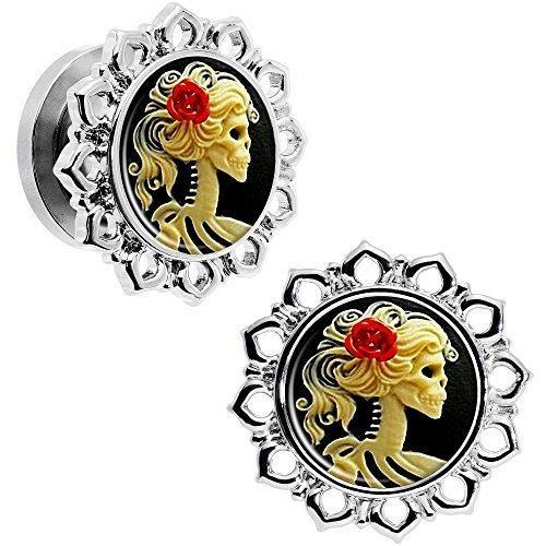 ホットセール Body Candy Steel Red Rose White Cameo Skull Flower Frame Screw Fit Ear, ニチナンチョウ 4a0fee50