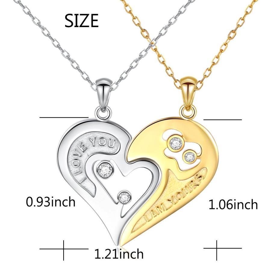 2019超人気 S925 Sterling Silver Couple Necklace Heart CZ for Women and Men, ドッグフードの食糧 05e57be7