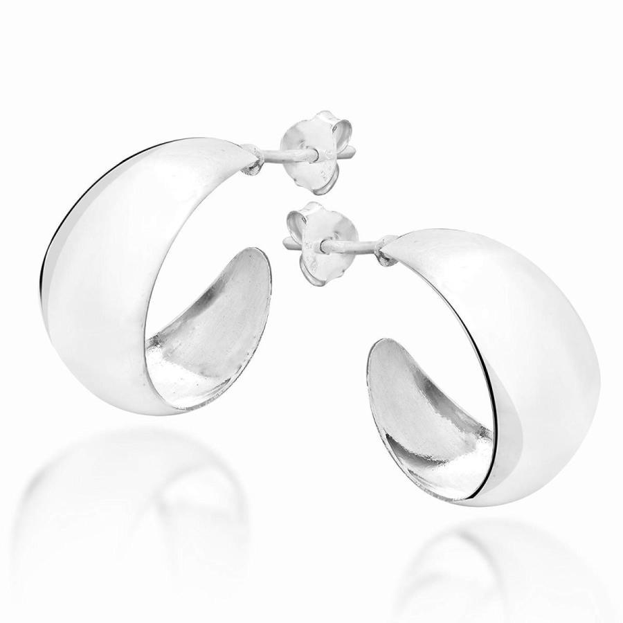 【国内発送】 Trendy Crescent Moon Half Hoop .925 Sterling Silver Post Earrings, アートエム 5c7e21cc