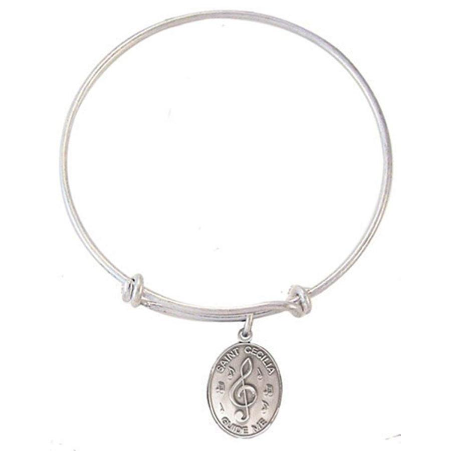 【国内即発送】 Silver Toned Base Bangle Bracelet with Pewter Saint Cecilia Music Meda, 財田町 62e254ef