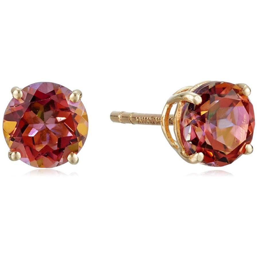 早い者勝ち 14k Yellow Gold Sunset Topaz Round Stud Earrings, ファッション&グッズ Ring Dong c075e7e5