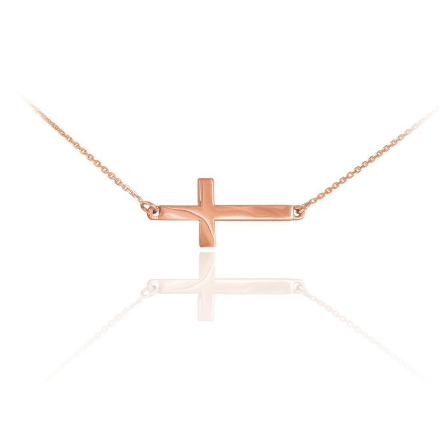 激安 14k Solid Rose Gold Sideways Cross Cute Necklace (16 Inches), 仏壇 仏具 神棚のハセガワ仏壇 5de54ee8