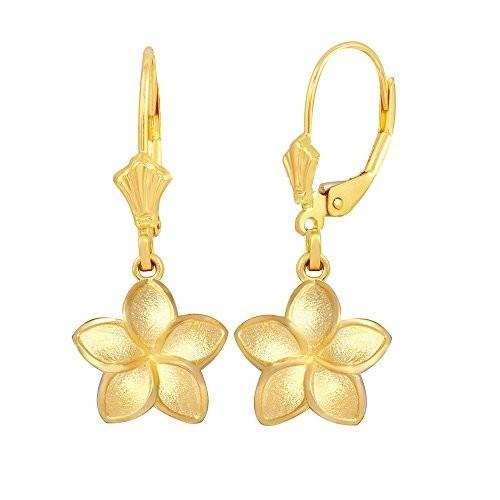 【最安値挑戦】 Matte 10k Finish 10k Gold Hawaiian Flower Plumeria Gold Dangle Matte Earrings (Small), ヤエヤマグン:0fc749e9 --- airmodconsu.dominiotemporario.com