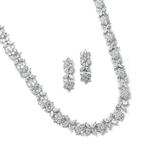 2019人気新作 Mariell CZ Necklace and Earring Set with Marquis Flowers - Luxe Weddin, 暮らしの百貨店 c26325f9