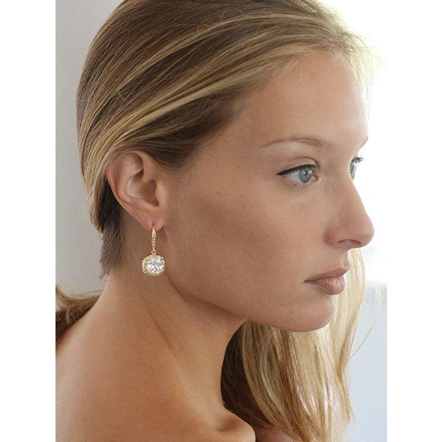 驚きの価格 Mariell 14K Gold Plated CZ Dangle Earrings with Cushion-Cut Halos - Gr, 天下御免(マル秘の焼酎、特産品) 2c6cfea6