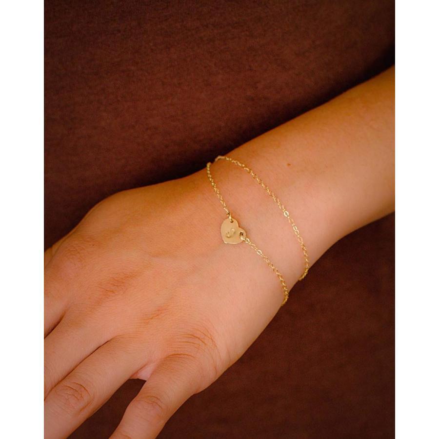 超人気高品質 EFYTAL Initial Bracelet - Custom Gold Filled Dainty Heart, Small Monog, ナチュララボ 1ba2b7c2