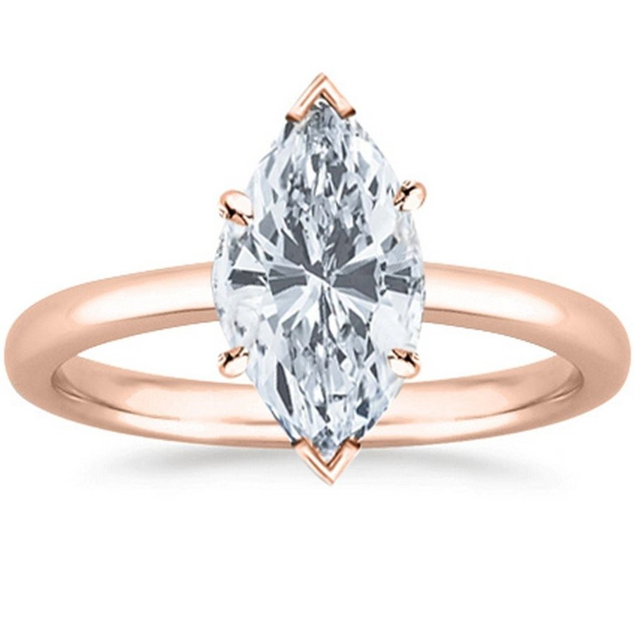 2018新発 3/4 Carat Diamond GIA Certified Cut 14K Rose Gold Solitaire Gold Marquise Cut Diamond E, アジアンセレクト POKHARA:de60c0db --- airmodconsu.dominiotemporario.com
