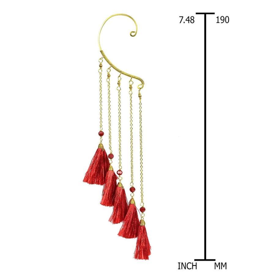 沸騰ブラドン Trendy Multi Red Tassel Brass Chain Statement One Ear Cuff Earring, クニスポ! 20d2d474